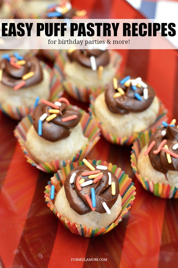 Birthday party food ideas don't have to be complicated to be delicious! Take a fun approach to classic flavors with these Puff Pastry Candy Cupcakes and other easy puff pastry recipes!