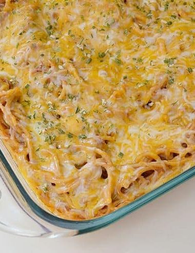 Next time it rains on your BBQ, you can still have great cookout flavors with this easy BBQ Spaghetti Bake recipe!