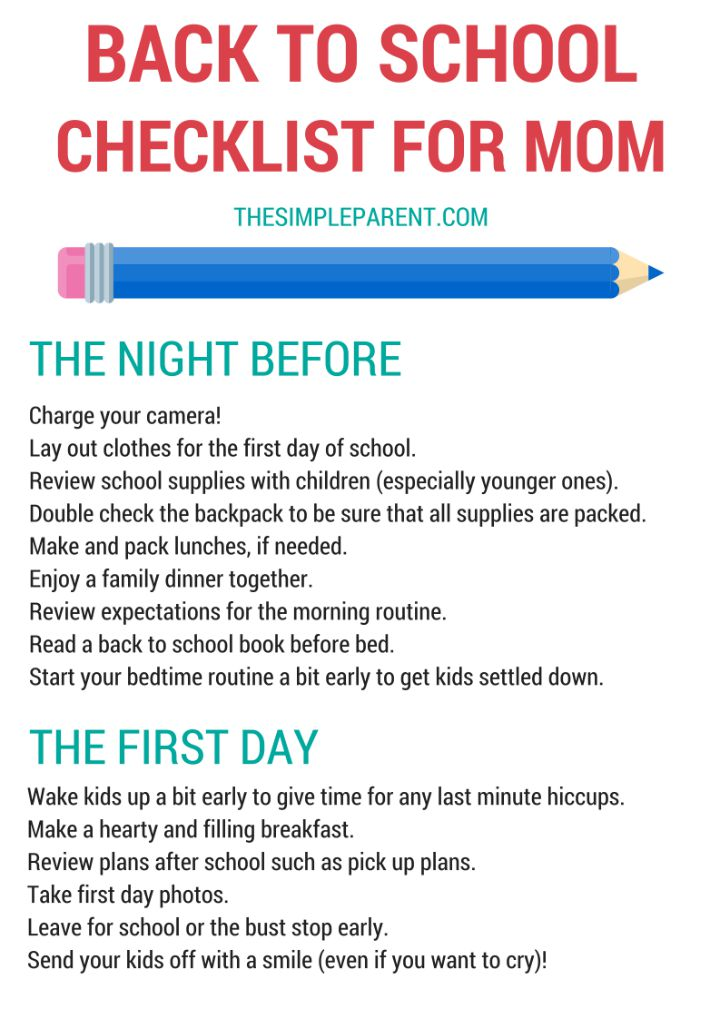 Are you a busy mom who wants to make sure the first day of school goes off without a hitch? Print this Back to School Checklist for Mom and get the new school year started smoothly!