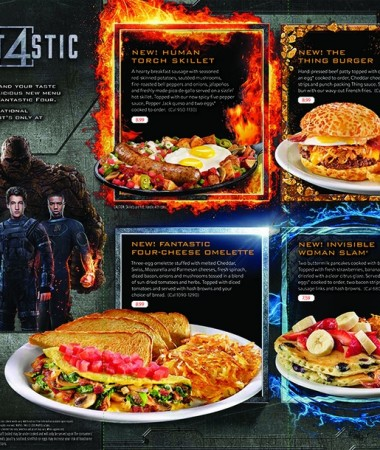 In honor of the Fantastic Four, for a limited time guests can order superhero-inspired favorites all day long on the new Slamtastic 4 menu!