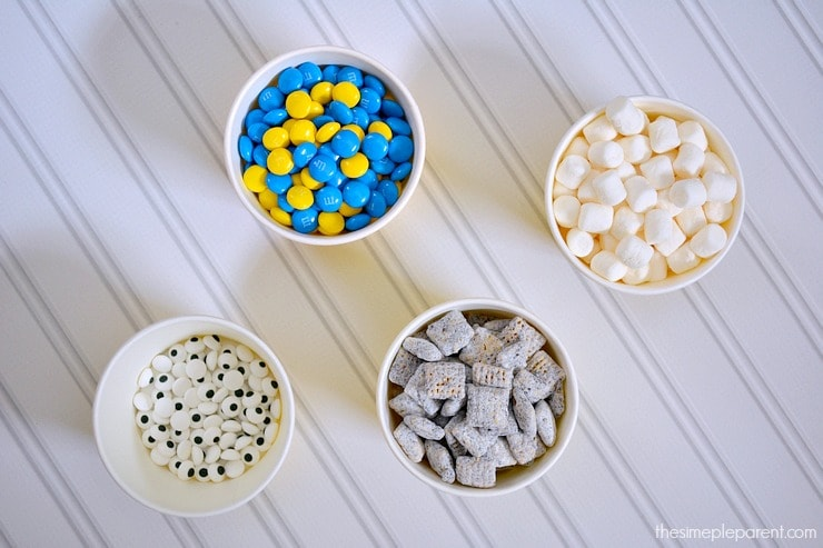 Celebrate all things Minions or Despicable Me with this Minions Munch! Your kids will love helping make this easy snack mix recipe! Here's what you need!