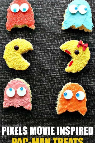 For the gamer in all of us! Check out these Pixels Movie inspired Pac-Man treats! These easy rice krispies treats are great for a Pac-Man party or just to enjoy with your kids after seeing the movie!