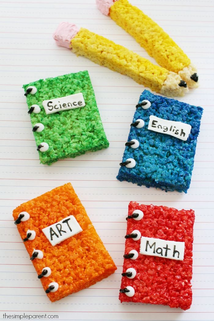 Celebrate the new school year with these fun Back to School Crispy Rice treats! This easy rice krispies treat idea is fun to make with the kids or to make as an after school surprise!