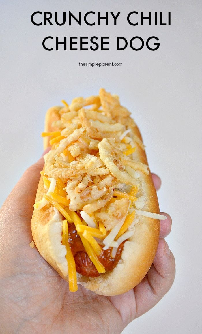 Need an easy family dinner idea? Or a quick idea for the grill? Make these Crunchy Chili Cheese dogs for a fun take on a classic hot dog recipe!