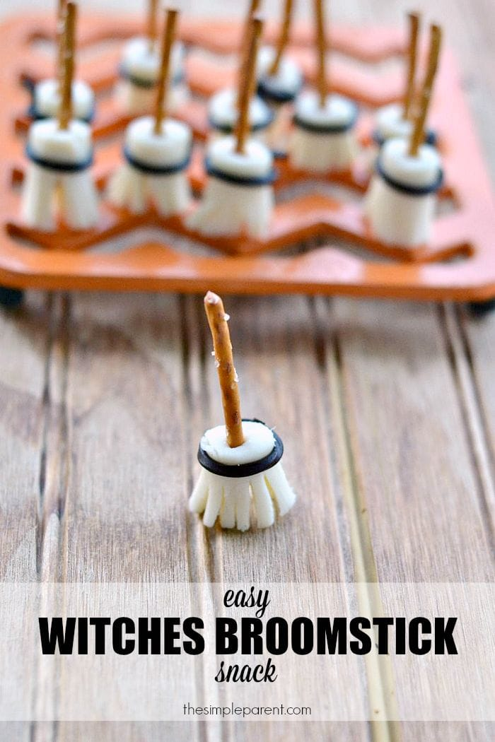 Make this Edible Witches Broomstick Craft as a fun Halloween snack idea for kids! This Halloween craft also doubles as a fun snack idea!