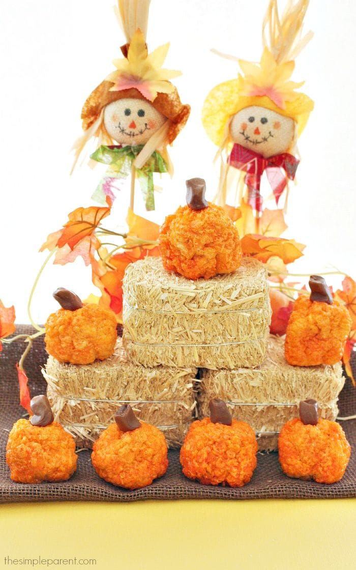Homemade Rice Krispies Pumpkin Treats are so easy to make! They are perfect for the fall season including Halloween and Thanksgiving! Plus the kids love to make Rice Krispies treats! With one simple swap, you can also make Apple Rice Krispies Treats using this recipe!