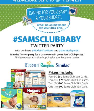 #SamsClubBaby Twitter Party on 9/16