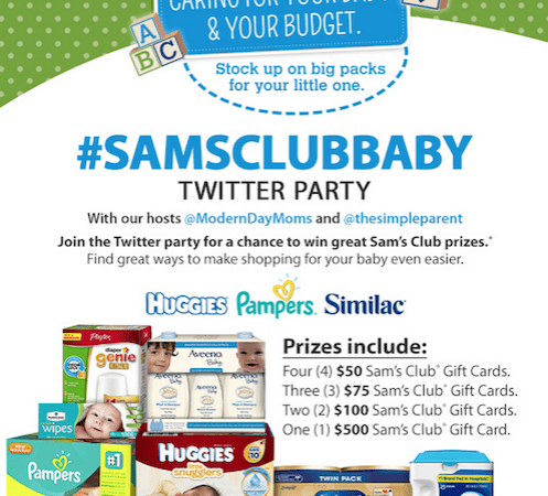 Join #SamsClubBaby Twitter Party on 9/16
