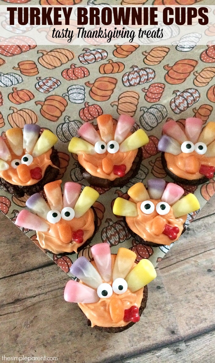 Celebrate Thanksgiving with these cute Thanksgiving treats! Turkey brownie cups are easy to make and delicious to eat when you're finished making them!