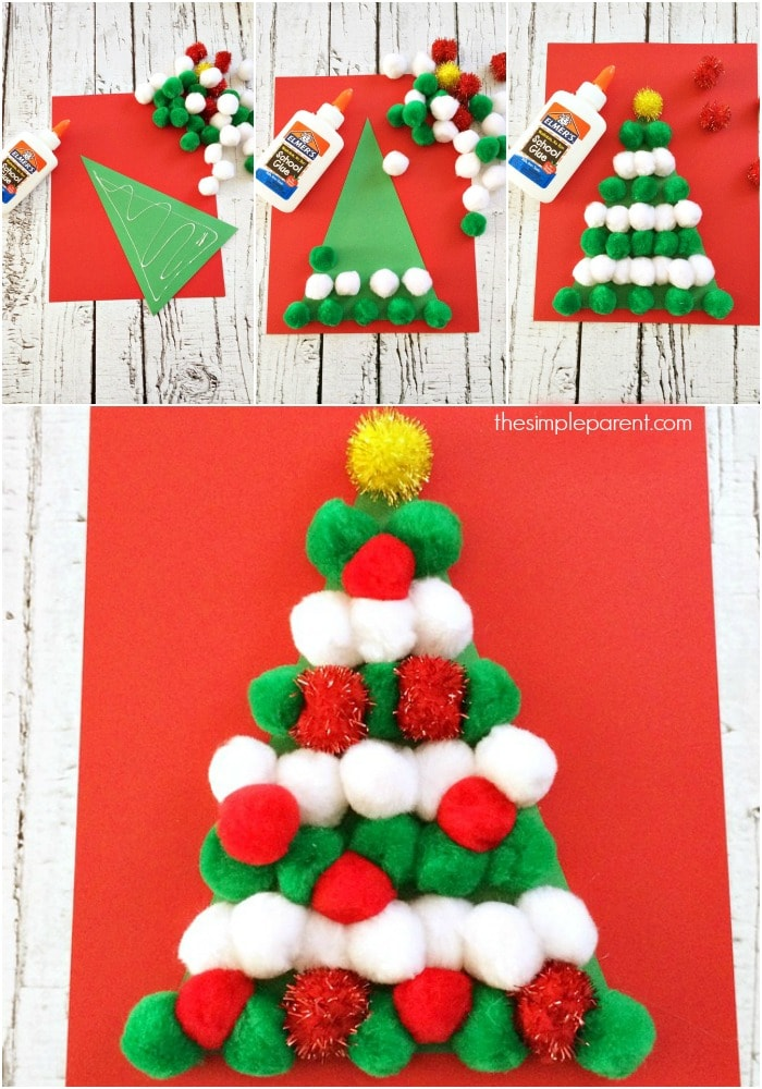 Let the kids decorate their own Christmas tree with this Pom Pom Christmas Tree craft!