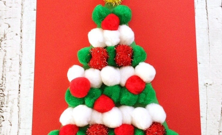 No Need to Water This Pom Pom Christmas Tree Craft