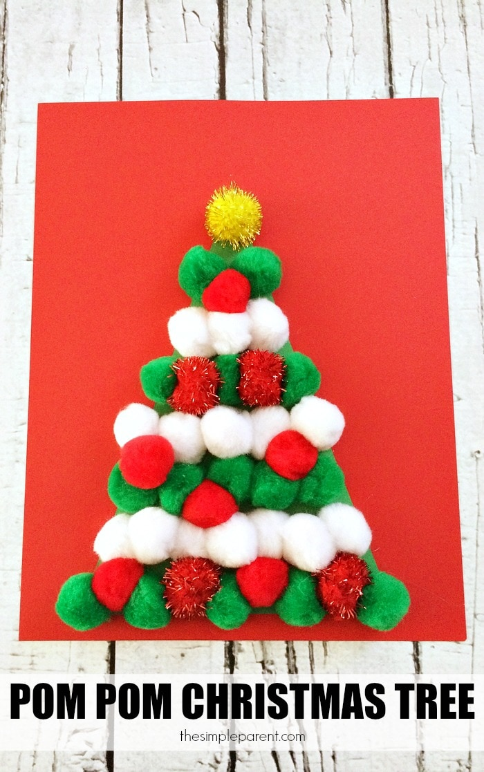 No need to water this pom pom christmas tree craft for Crafts to make with pom poms