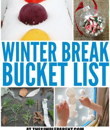 Looking for things to do during winter break from school? Check out this Winter Break Bucket List for some fun winter activities to do with the kids!