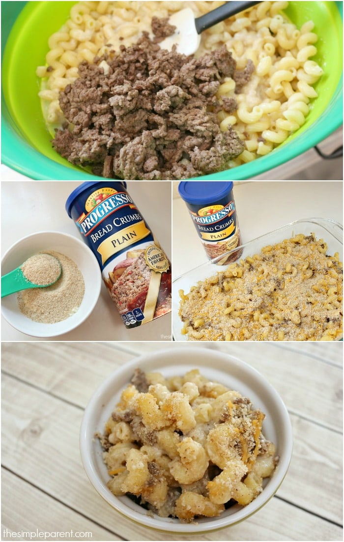 Cheesy Hamburger Pasta Bake is an easy family-friendly dinner recipe with a great crunchy topping!