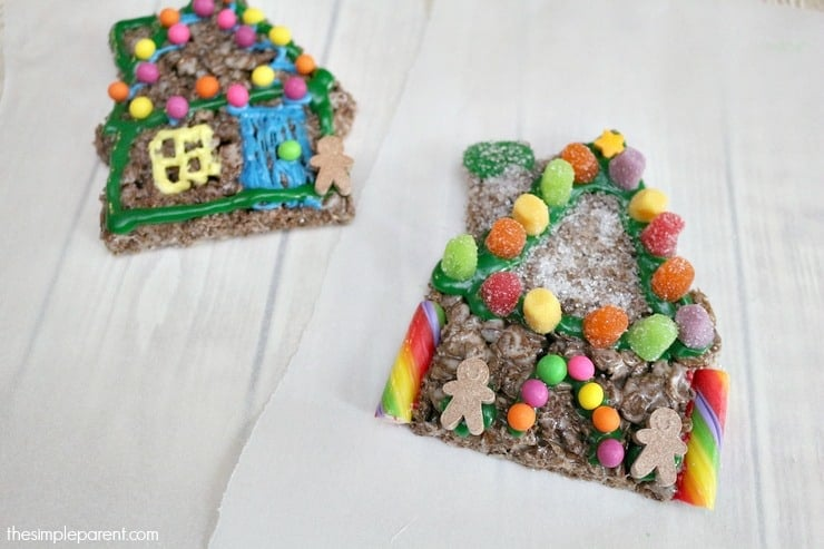 Gingerbread House Cocoa Pebbles Treats are fun to make & fun to eat!