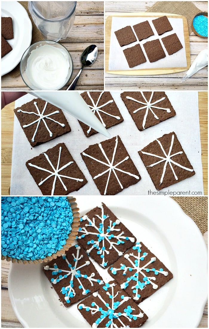 Embrace winter with the kids! Make these easy Snowflake Graham Cracker Snacks on a snow day or just for a fun after school treat!