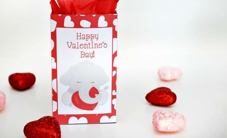 Printable Elephant Valentines Treat Bag