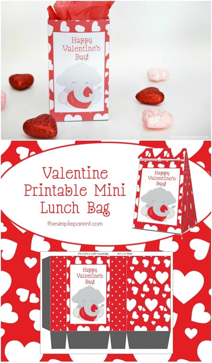 DIY it this Valentine's Day with this cute Printable Elephant Valentines Treat Bag!