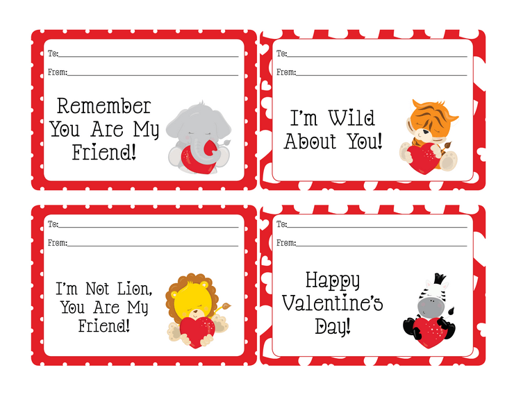 Show your friends you care with these fun Jungle Animal Valentines! Free printable valentines!
