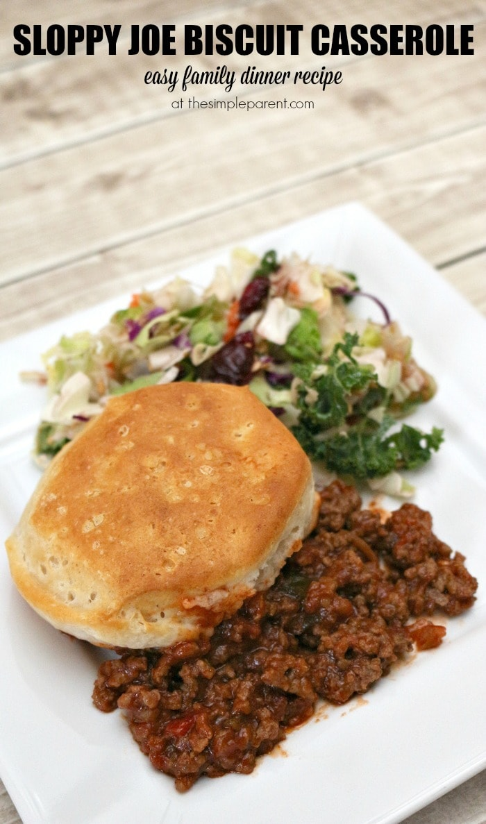 Sloppy Joe Biscuit Casserole is an easy family friendly dinner recipe for busy nights!