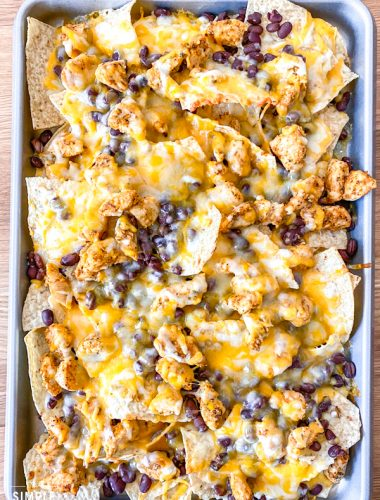 easy baked nachos recipe on a sheet pan