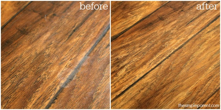 Check out the before and after when we use Bona PowerPlus Hardwood Floor Deep Cleaner and Deep Clean Pad!