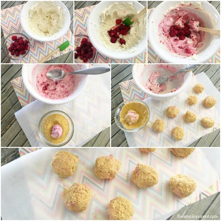 Check out these easy raspberry cheesecake bites! So easy to make and so easy to enjoy!