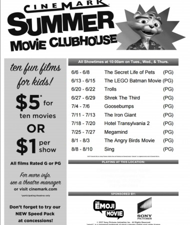 Check out the 2017 Cinemark Summer Move Clubhouse line up and catch Cinemark summer movies with your kids!