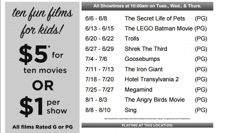 Cinemark Summer Movie Clubhouse Schedule