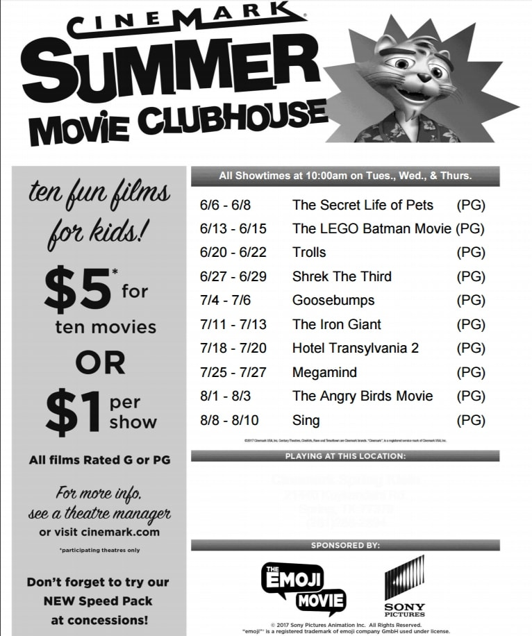 cinemark summer movie clubhouse schedule � the simple parent