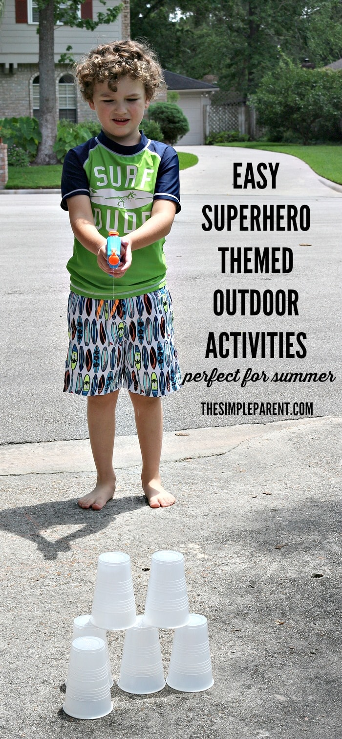 Need something fun to do with the kids? Try these easy Outdoor Superhero Activities! Better bring a towel to dry off after you test your superpowers!