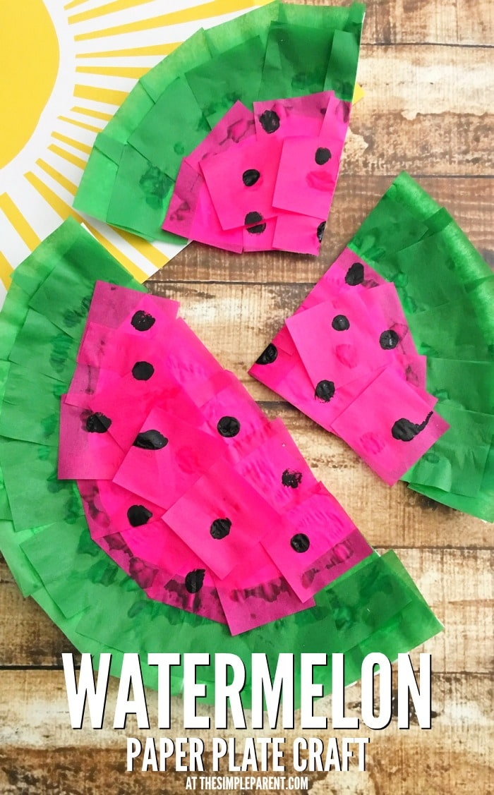 Make a cute watermelon craft from a paper plate for Fun crafts for all ages