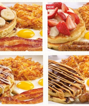 Try the new pancakes at Denny's! New recipe! New flavors! Same delicious!
