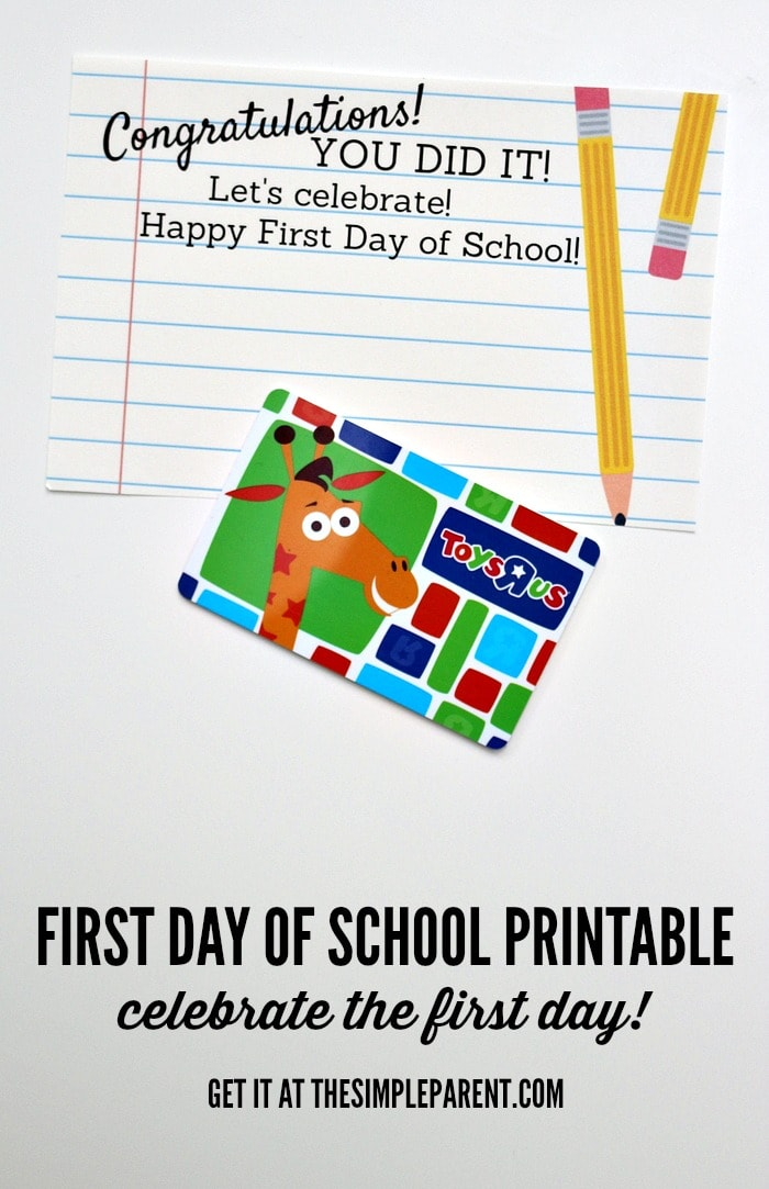Have a First Day of Kindergarten celebration with a little gift at the end of the day! Free printable!
