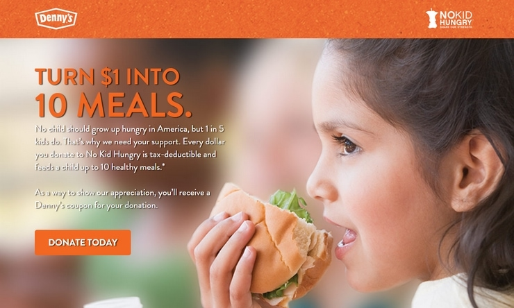 Get free pancakes for kids at Denny's during the month of September and support No Kid Hungry too!