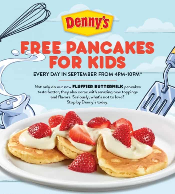 Get free pancakes for kids at Denny's during the month of September!