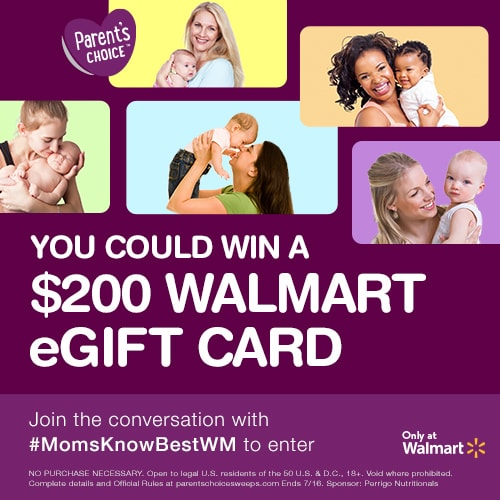 The Parent's Choice Formula #MomsKnowBestWM Sweepstakes information.