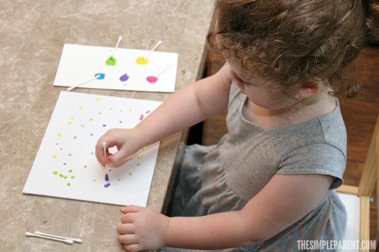 Cotton Swab Painting is one of our favorite preschool art activities!