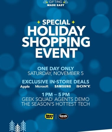 Check out the Best Buy Holiday Shopping Event in stores on 11/5!