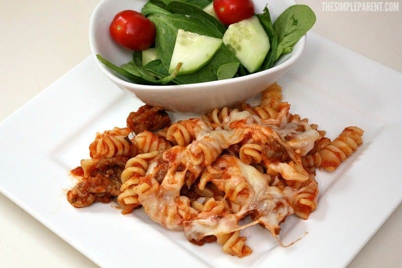 This easy sausage pasta bake recipe can be made for under $10!