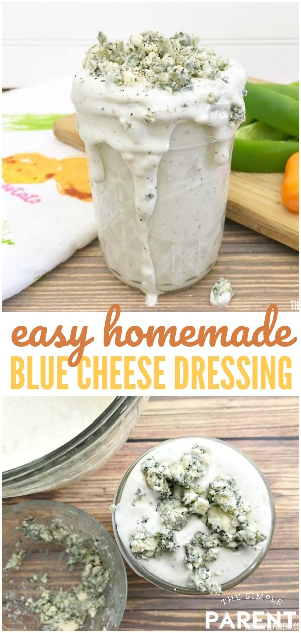 Homemade Blue Cheese Dressing Recipe - This is an easy and delicious recipe that you can make at home! It has that buttermilk that makes it delicious and works great on salads or as a dip (like with wings)!