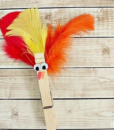 Celebrate Thanksgiving with your kids by making a cute clothespin turkey craft!