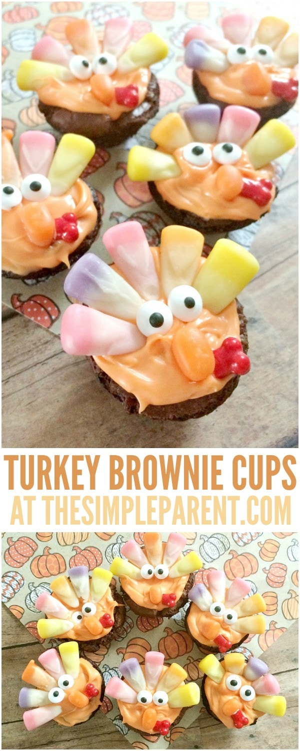 Celebrate Thanksgiving with these cute easy Thanksgiving treats! Turkey brownie cups are easy to make and delicious to eat when you're finished making them!