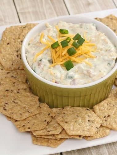 Easy football party dips like this bacon cheddar ranch dip recipe are a must for making entertaining a breeze!