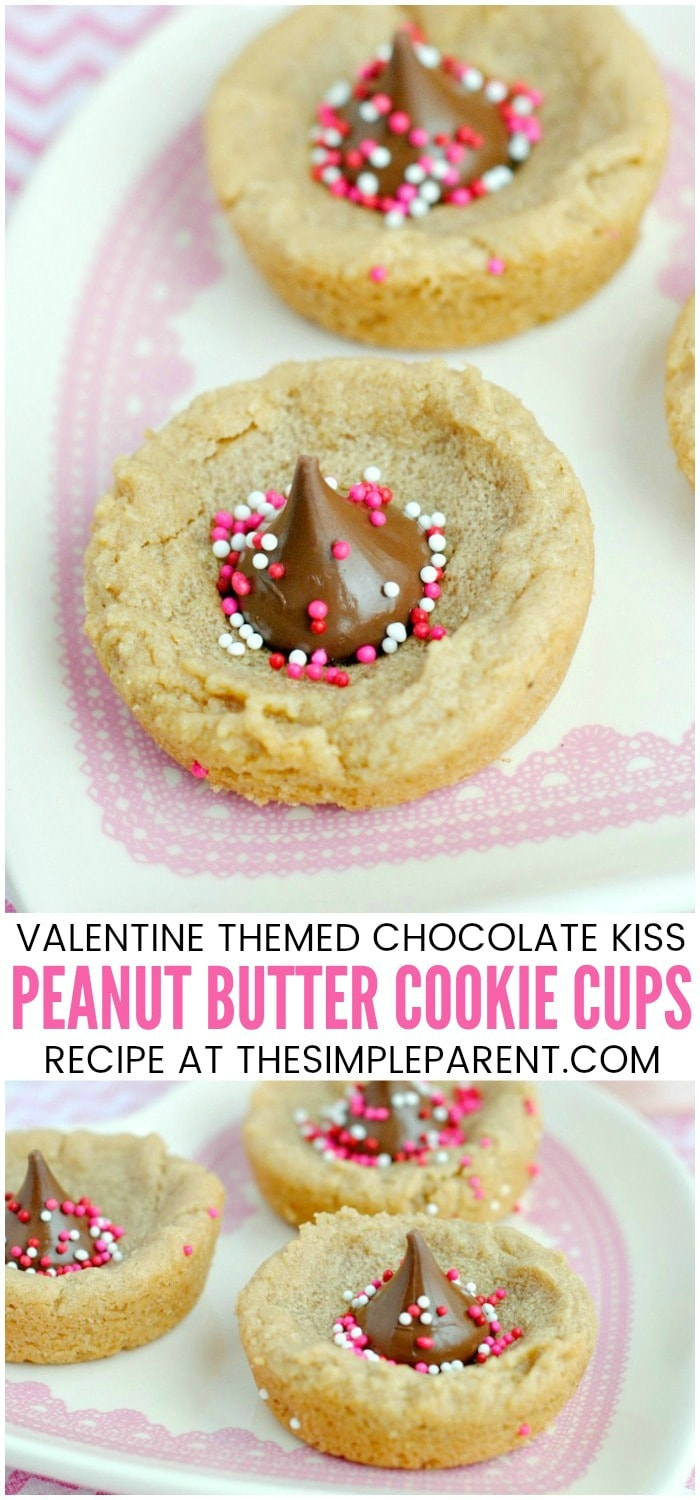 Peanut Butter Cup Cookies for Valentine's Day - These peanut butter cookie cups are soft and chewy. The peanut butter cookie with kisses makes it easy to add the Valentine touch! It's a great twist on your classic peanut butter cookie!
