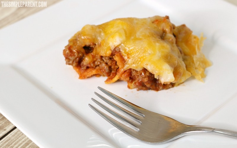 Baked sloppy joe casserole with corn chips is a fun and easy dinner idea!