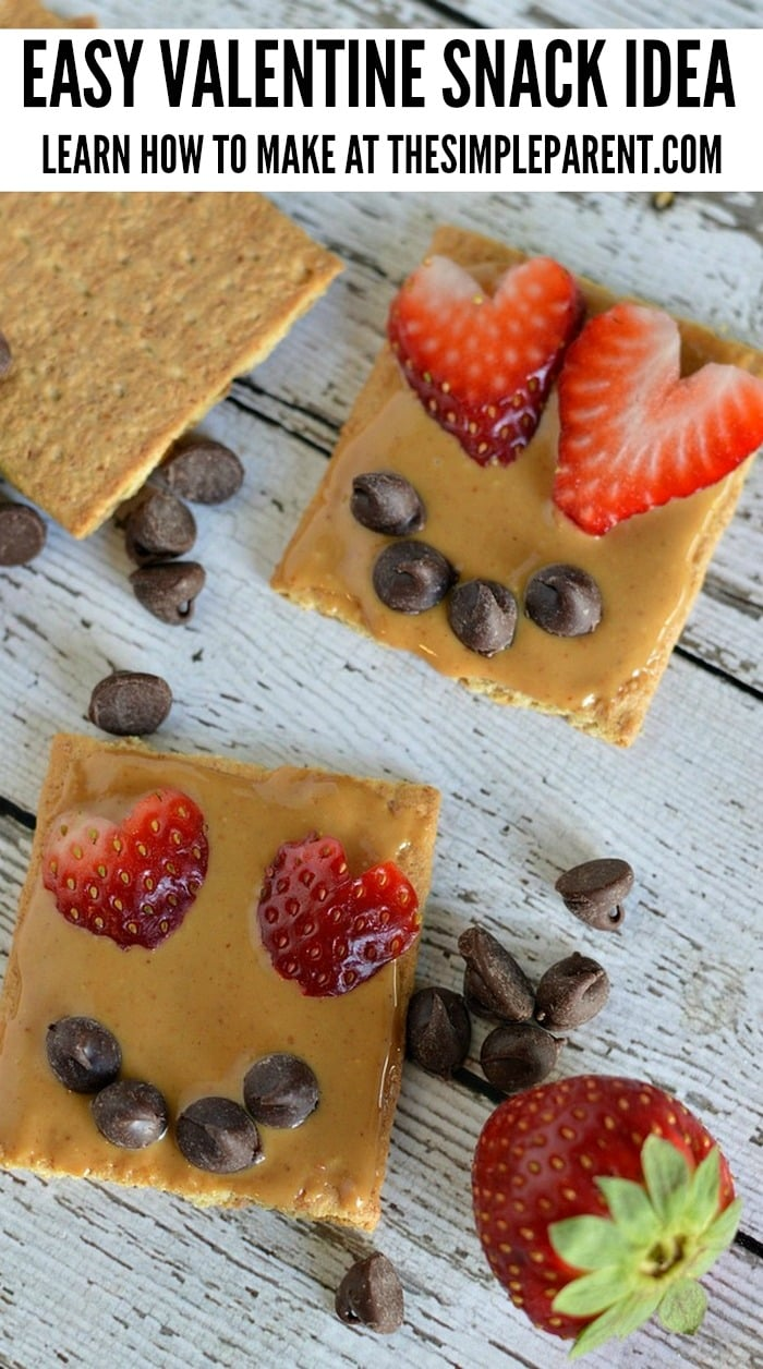 Have a healthy Valentine's Day with easy Valentine Snacks made with graham crackers and peanut butter!