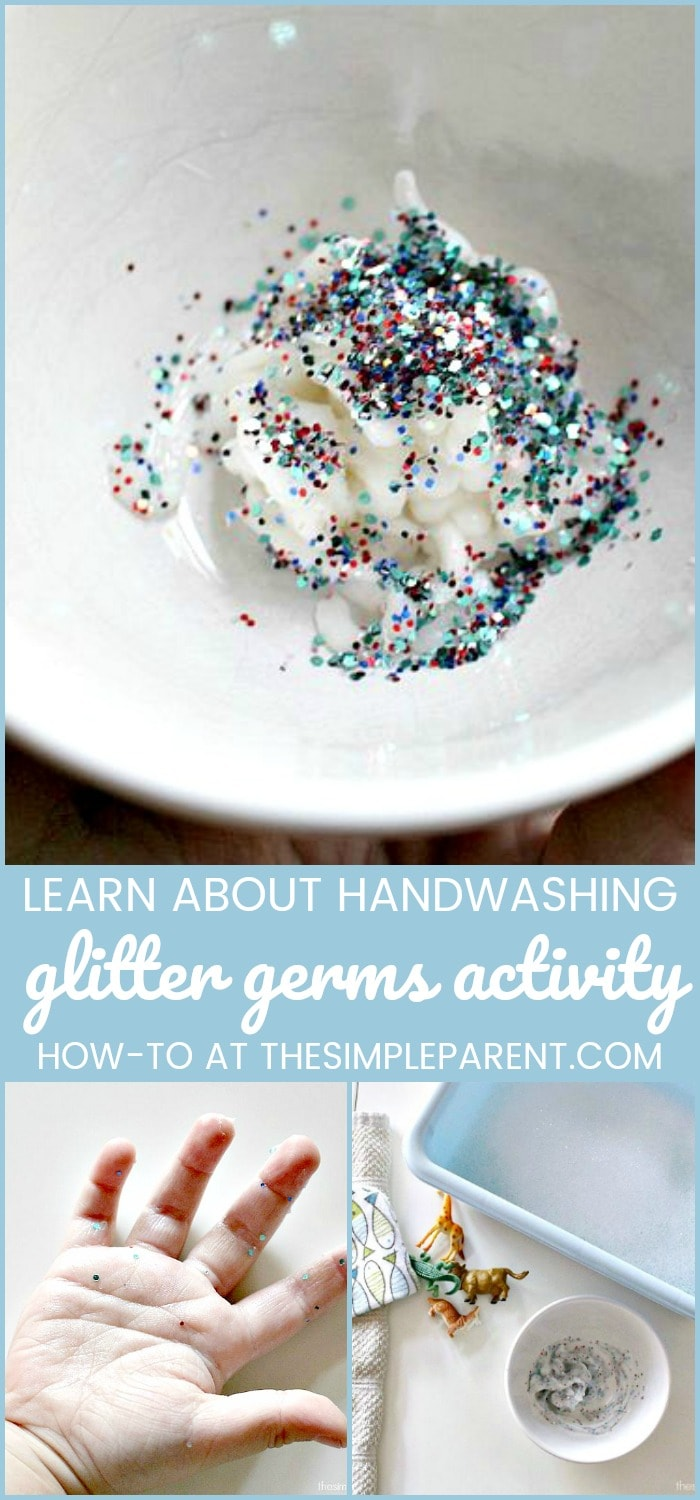 Glitter Germs Activities for Kids - Teach your kids the importance of handwashing with this fun handwashing lesson. It's great for younger kids especially those preschool age kids! Teaching them is easy when they're having fun! I love the simple ingredient that makes the glitter stick to their hands!