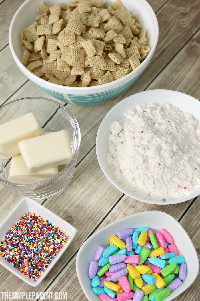 Pick up all of the ingredients you need to make rainbow puppy chow into a themed treat for movie night!
