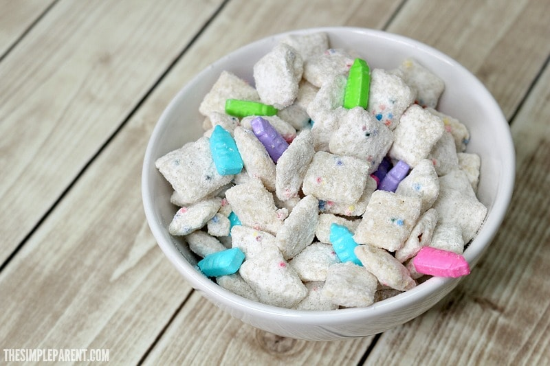 Make Rainbow sprinkles puppy chow for your next family movie night!